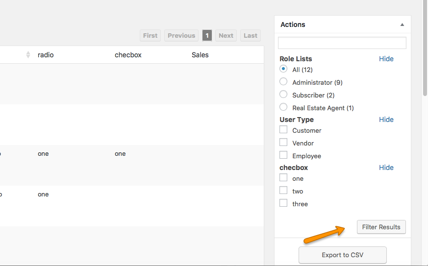 You will also see the filter in the sidebar where you can filter users by any attribute